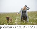 pretty young caucasian girl fashion dress outdoor 34977233