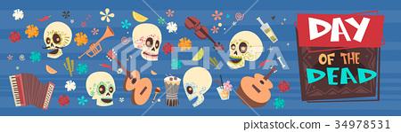 Day Of Dead Traditional Mexican Halloween Dia De 34978531