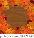 Frame with autumn colorful leaves 34978743