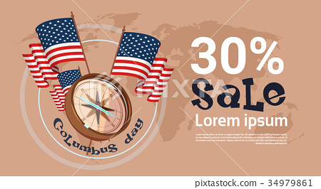 Happy Columbus Day Seasonal Holiday Sale Shopping 34979861