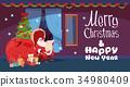 santa, christmas, vector 34980409