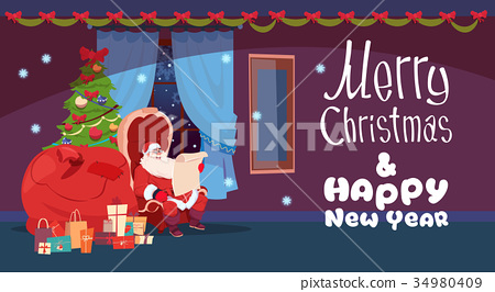 Merry Christmas And Happy New Year Greeting Card 34980409