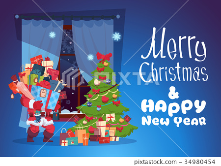 Merry Christmas And Happy New Year Greeting Card 34980454