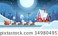 Santa Riding In Sledge With Reindeers, Merry 34980495