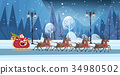 Santa Riding In Sledge With Reindeers, Merry 34980502