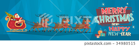 Santa Riding In Sledge With Reindeers, Merry 34980515