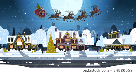 Santa Flying In Sledge With Reindeers In Sky Over 34980658
