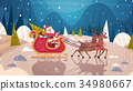 Santa Riding Sledge With Reindeers In Forest 34980667