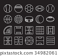 Sport Balls and Playing Field Icon set 34982061