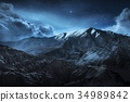 mountain, sky, star 34989842
