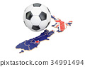 Football ball with map of New Zealand concept 34991494