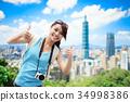 woman show thumb up 34998386