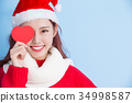 woman with merry christmas 34998587
