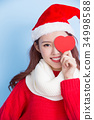 woman with merry christmas 34998588