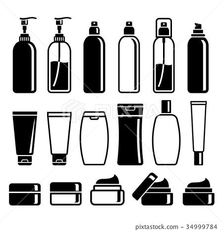 Set of cosmetics bottles. Vector illustrations. 34999784