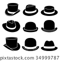 Vintage hats icons. Vector illustration. 34999787
