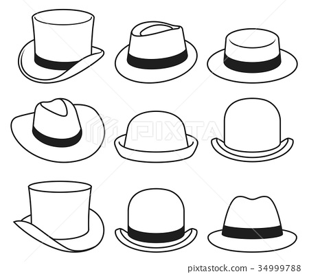 Vintage hats icons. Vector illustration. 34999788