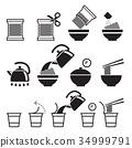 Instant noodles icons set. Vector illustrations. 34999791