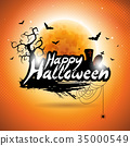 Happy Halloween vector illustration with bats 35000549