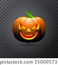 Vector Halloween pumpkin with candle inside 35000573