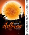Happy Halloween vector illustration with moon 35000580