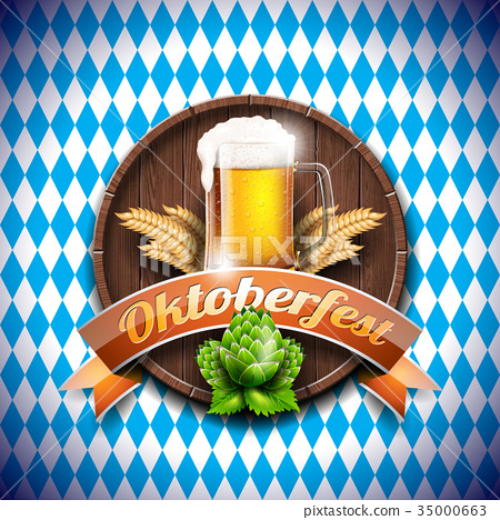 Oktoberfest vector illustration with fresh beer 35000663