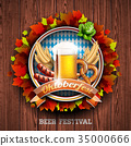 Oktoberfest vector illustration with fresh beer 35000666