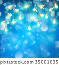 Christmas lights garland with glowing on blue 35001035