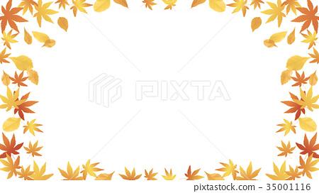 Autumn image Autumn leaves on a white background (aspect ratio 16: 9) 35001116