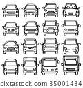 汽车前视图(钢笔绘图风格线条画) 35001434