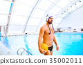 Water polo player in a swimming pool. 35002011