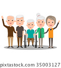 Group of elderly people stand together.  35003127