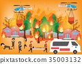Forest Fire infographics. burning forest trees  35003132