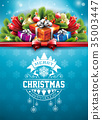 Merry Christmas illustration with typography and 35003447