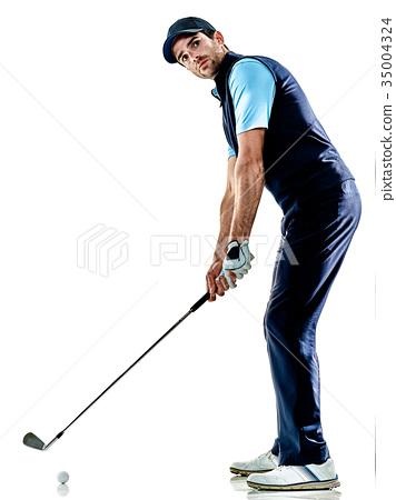 man golfer golfing isolated withe background 35004324