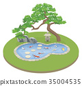 japanese garden with koi pond and pine tree 35004535