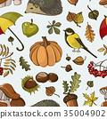 Set of autumn symbols pattern 35004902