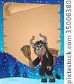 parchment Krampus vector 35006380