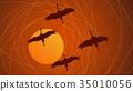 Abstract cartoon illustration flock of cranes. 35010056