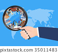 travel landmark in magnifying glass on world map 35011483