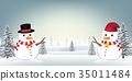 two snowman in forest snow winter background 35011484