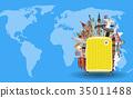 suitcase with travel landmark on world map 35011488