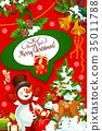Christmas card of Xmas tree, snowman and reindeer 35011788