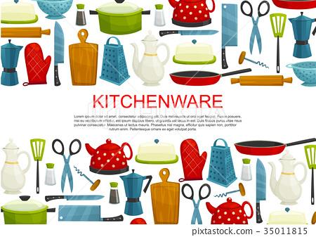 Kitchenware Kitchen Utensils And Tool Banner Stock Illustration