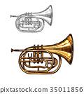 Trumpet or horn jazz music instrument sketch 35011856