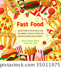 Fast food poster with fastfood meal, drink frame 35011975
