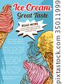 Ice cream cone dessert retro sketch poster 35011999
