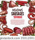 Sausage, beef and pork meat delicatessen banner 35012001