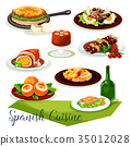 Spanish cuisine icon design with meat and seafood 35012028