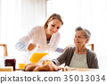 Health visitor and a senior woman during home 35013034